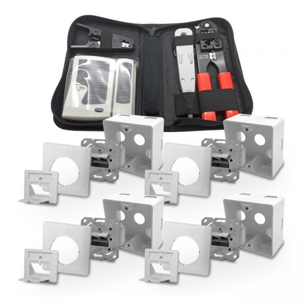 4 x ARLI Cat6a Netzwerkdose 2 Port + Werkzeugset ( Crimpzange + Tester + LSA + Kabelmesser )