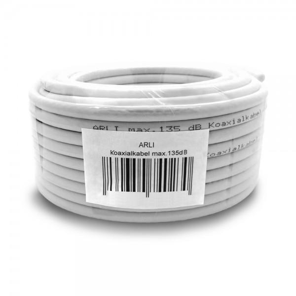 ARLI 20m Koaxialkabel max. 135 dB Kabel 135dB satelliten kabel digitaltauglich konfektionierte TV-Kabel DVB-S DVB-C DVB-T 4-fach 5fach schirmung meterware verlegekabel Adapter doppel schüssel 130db 120db 110db Weiß Internetanschluss KabelBW BW Anlagen Ins