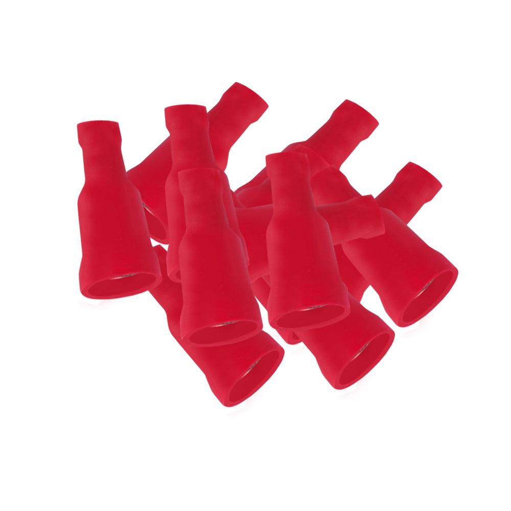 Flachsteckhülsen rot vollisoliert 6,3 x 0,8 mm 50 x Flachsteckhülse Kabelschuhe
