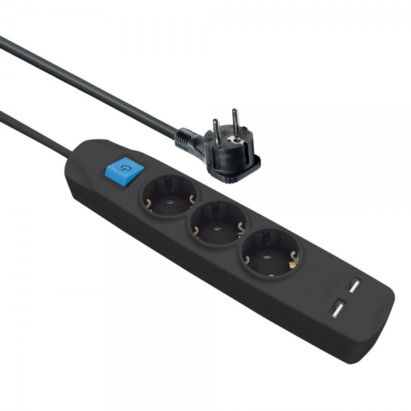 Steckdosenleiste 3 fach mit 2 USB Ladebuchsen Schalter flachem Winkelstecker 1,5 m Kabel schwarz