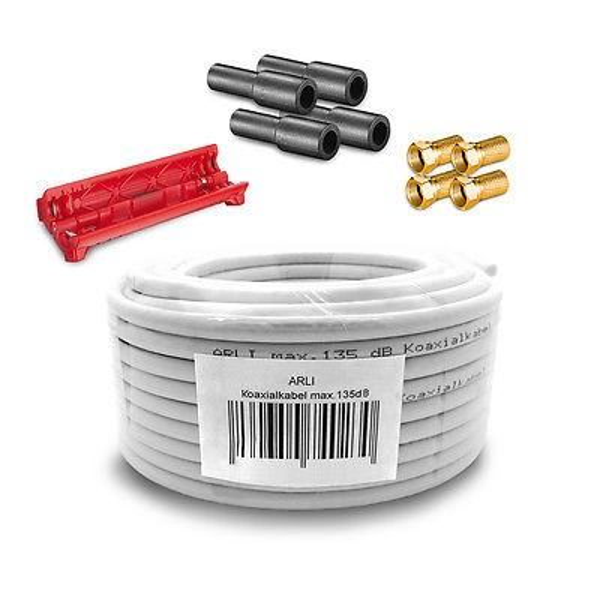 10m arli koaxialkabel max 135db 4x f stecker vergoldet 4x gummit lle abisoliermesser kabel. Black Bedroom Furniture Sets. Home Design Ideas