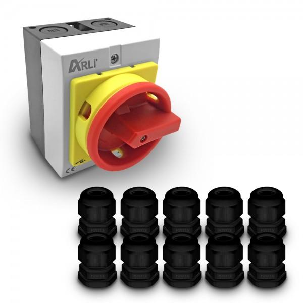 drehschalter hauptschalter haupt schalter 16A kabelverschraubung elektro 4pol 4-pol notschalter aus schaltschrank verteilerschrank schrank anlage maschinen maschinenschalter trenn trennschalter reparatur reparaturschalter Geräteschalter ip65