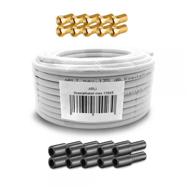 20m arli koaxialkabel max 135db 10x f stecker vergoldet 10x gummit lle kabel 135db. Black Bedroom Furniture Sets. Home Design Ideas