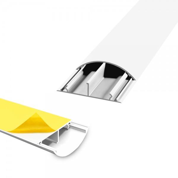 ARLI Wand / Fussboden Kabelkanal 1m halbrund selbstklebend 50 x 12 mm weiss