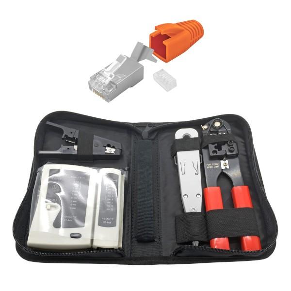 ARLI Netzwerk Werkzeugset + 50 RJ45 Netzwerkstecker mit Zugentlastung, Einführhilfe und Knickschutz