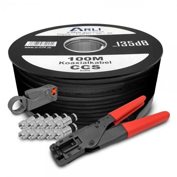 100m koaxialkabel schwarz 135db kompressionszange abisoliermesser 100x stecker kabel 135db. Black Bedroom Furniture Sets. Home Design Ideas