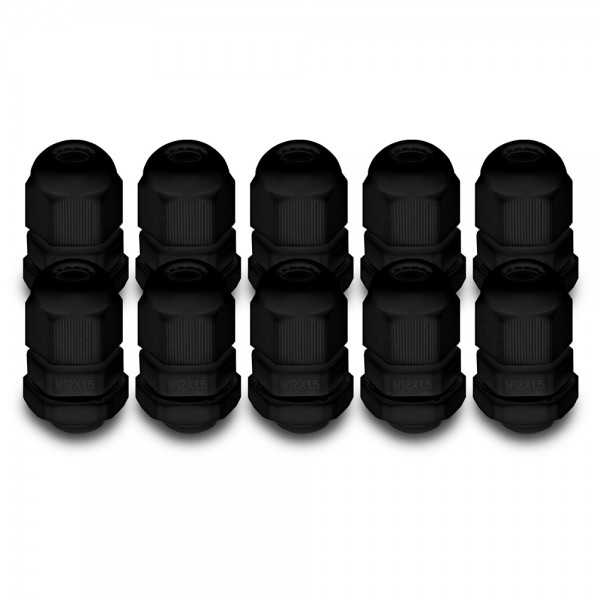 ARLI Kabelverschraubungen schwarz M12 x 1,5 mm - 10 er Beutel