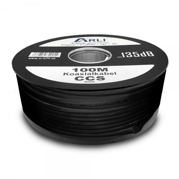 ARLI Koaxialkabel schwarz 135 dB 100m Kabel 135dB satelliten kabel digitaltauglich konfektionierte TV-Kabel DVB-S DVB-C DVB-T 4-fach 5fach schirmung meterware verlegekabel Adapter doppel schüssel 130db 120db 110db Weiß Internetanschluss KabelBW BW Anlagen